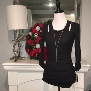 NWT IZ BYER top w/ gold necklace. XS Black ruched.